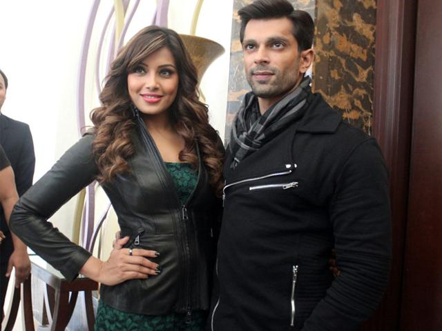 Actors Bipasha Basu and Karan Singh Grover visit Indore on Thursday to promote their upcoming film 'Alone'. (Shankar Mourya/HT photo)