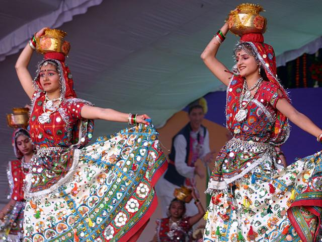 Girls from Haryana perform at the national Balrang Utsav at Indira Gandhi Rashtriya Manav Sangrahalaya in Bhopal on Saturday. (Bidesh Manna/HT photo)