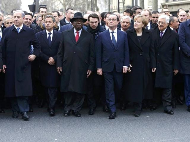 French president Francois Hollande is surrounded by head of states including (L to R) Israel
