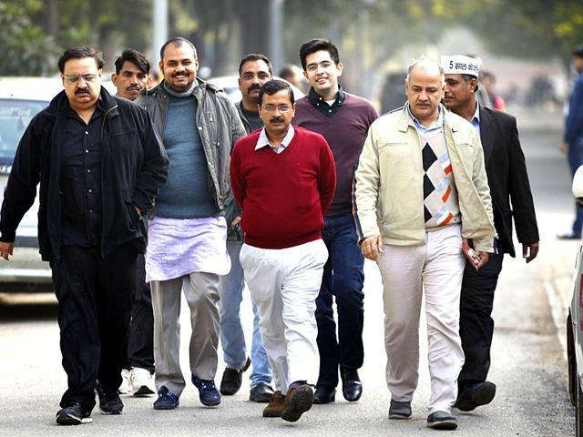 AAP-s-candidate-from-New-Delhi-constituency-Arvind-Kejriwal-arrives-at-Jamnagar-House-to-file-his-nomination-for-the-upcoming-Delhi-Assembly-Elections-2015-in-New-Delhi-File-photo-by-Saumya-Khandelwal-HT