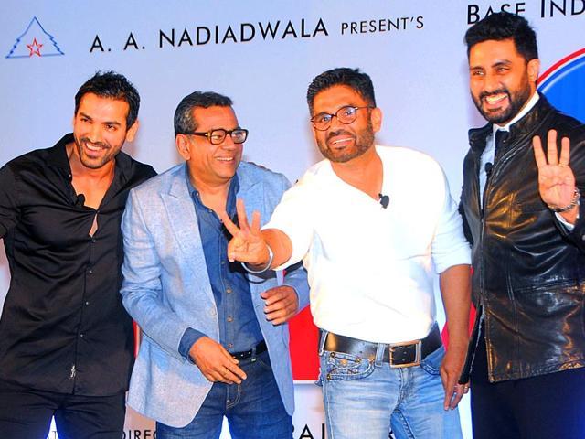 From-left-to-right-John-Abraham-Paresh-Rawal-Suniel-Shetty-and-Abhishek-Bachchan-attend-the-mahurat-auspiciuous-inauguration-of-the-forthcoming-comedy-Hindi-film-Hera-Pheri-3-in-Mumbai-on-January-12-2015-AFP-Photo