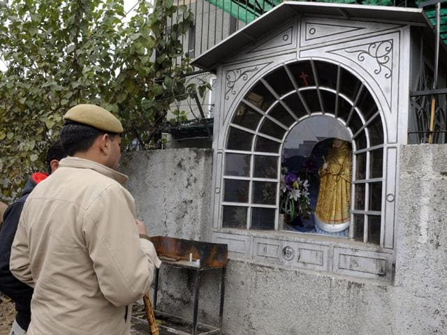 delhi church vandalised,vikaspuri church,vikaspuri church vandalised