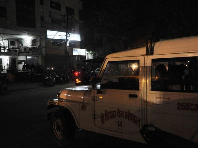 A-PCR-van-parked-outside-the-newspaper-s-office-at-MP-Nagar-in-Bhopal-Praveen-Bajpai-HT-photo