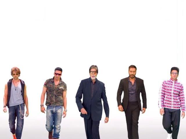 Amitabh-Bachchan-Hrithik-Roshan-Akshay-Kumar-Ajay-Devgn-and-Ranveer-Singh-in-a-still-from-the-song-Birju-from-Ganesh-Acharya-starrer-Hey-Bro