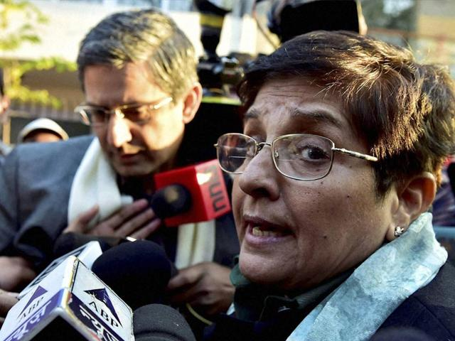 BJP-leader-Kiran-Bedi-comes-out-of-her-house-after-a-meeting-with-party-MPs-in-New-Delhi-on-Sunday-PTI-Photo