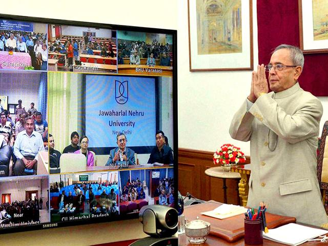 President-Pranab-Mukherjee-gestures-during-his-address-on-the-topic-Parliament-and-Policymaking-to-Central-Universities-IITs-NITs-and-other-Institutions-through-Video-Conferencing-at-Rashtrapati-Bhavan-in-New-Delhi-on-Monday-PTI-Photo
