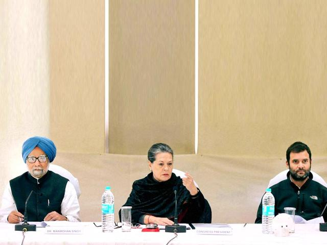 Former-Prime-Minister-Manmohan-Singh-Congress-President-Sonia-Gandhi-with-party-Vice-President-Rahul-Gandhi-during-the-CWC-meeting-at-party-headquarter-in-New-Delhi-PTI-Photo