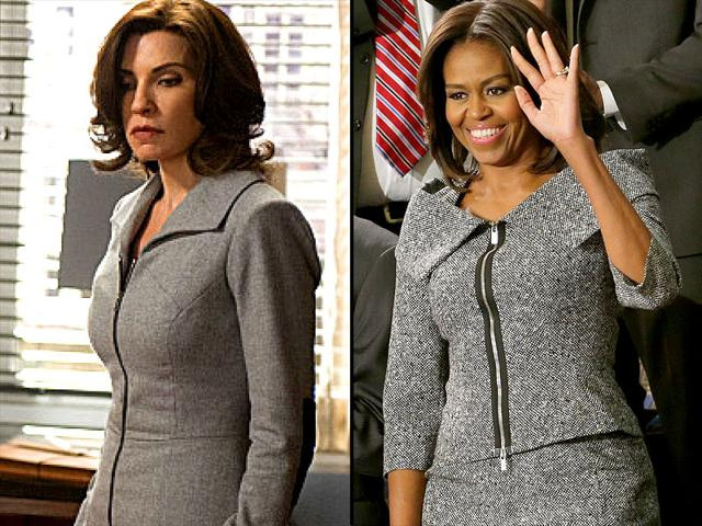 Julianna-Margulies-in-The-Good-Wife-left-and-Michelle-Obama-at-the-State-of-the-Union-speech-right