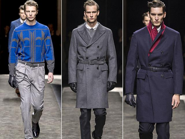 At the Brioni Fall/Winter 2015 show in Milan, there was a military rigour to the belted overcoats, collar pins on shirts, leather gloves, and the ticket pockets on two and three button tailoring, which came with tapered trousers (an equestrian nod to jodphurs).