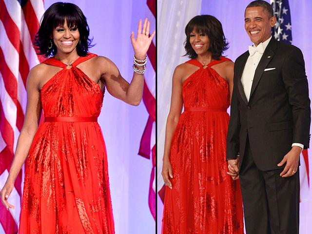 Here, she wears a chiffon–and-velvet Jason Wu gown at the Inaugural Ball in Washington DC on January 21, 2013.