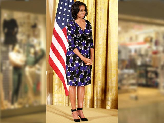 Michelle Obama wears a Zero + Maria Cornejo graphic print dress at an awards ceremony at the White House in November, 2012.