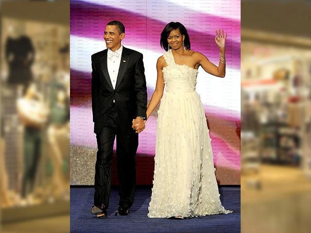 Michelle Obama stands out in a sophisticated Jason Wu gown at the inaugural ball in Washington DC on January 20, 2009.