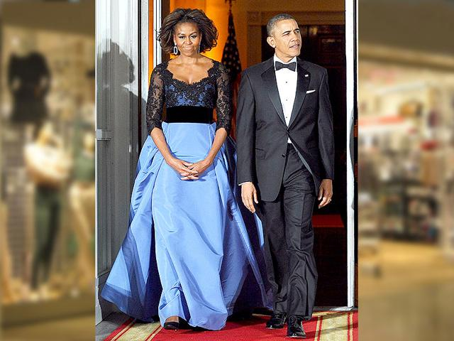 Beautiful in blue! Michelle Obama had yet another best-dressed moment when she wore this gorgeous blue gown in 2012.