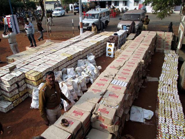 Liquor-boxes-recovered-from-a-capsule-truck-at-Agar-district-in-Madhya-Pradesh-on-Wednesday-Pramod-Carpenter-HT-photo