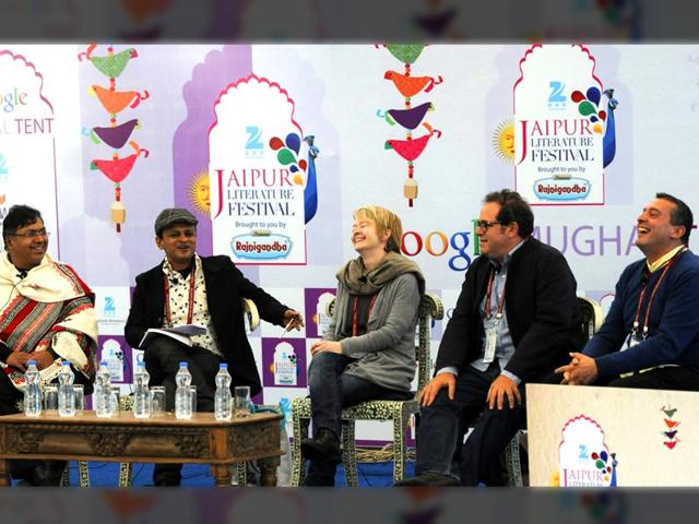 From-left-Damon-Gilgut-Devdatt-Patnaik-Sandip-Roy-Sarah-Waters-Mark-Gevisser-and-ChristosTsoilkas-at-a-session-on-Comig-Out-Tales-They-Don-t-Tell-during-the-Literature-Festival-in-Jaipur-on-Thursday-22-January-2015-Photo-by-Mohd-Zakir-Hindustan-Times