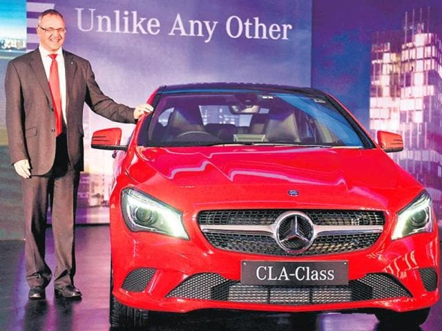 Mercedes-Benz-India-MD-and-CEO-Eberhard-Kern-launching-the-new-CLA-Class-in-New-Delhi-on-Thursday-Photo-PTI