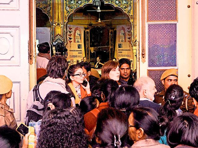 Visitors-queue-up-outside-a-venue-after-a-number-of-Jaipur-Literature-festival-sessions-were-cancelled-or-changed-due-to-overnight-rains-Himanshu-Vyas-HT