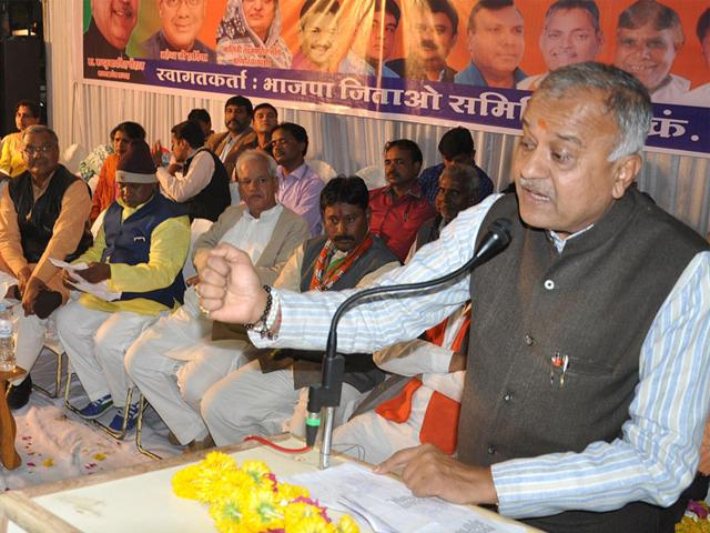 State-BJP-president-Nandkumar-Singh-Chauhan-addresses-a-gathering-at-ward-no-48-ahead-of-municipal-polls-in-Indore-on-Thursday-Shankar-Mourya-HT-Photo