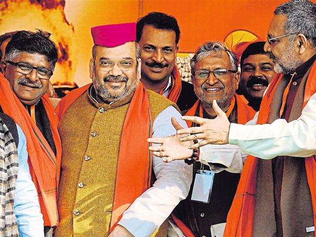 BJP-president-Amit-Shah-at-a-public-rally-in-Hari-Nagar-on-Saturday-hours-after-his-other-rally-in-the-Capital-was-cancelled-Arun-Sharma-HT-File-photo