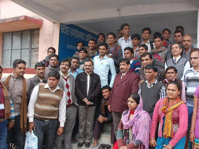 Rajgarh-collector-Anand-Sharma-centre-poses-with-disabled-candidates-who-were-given--special-residential-training-HT-photo