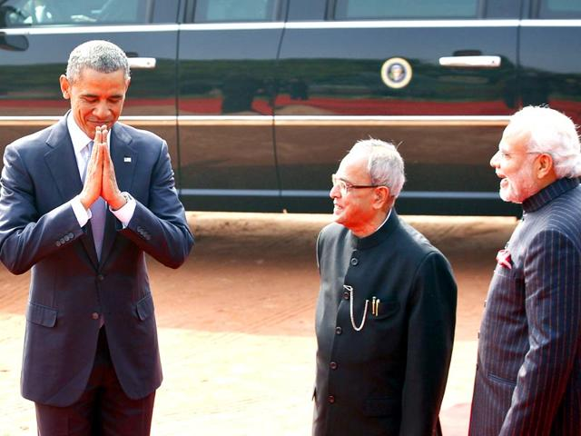 US-President-Barack-Obama--raises-a-toast-at-the-state-dinner-hosted-by-President-Pranab-Mukherjee-at-the-Rashtrapati-Bhavan-in-New-Delhi-AP-photo