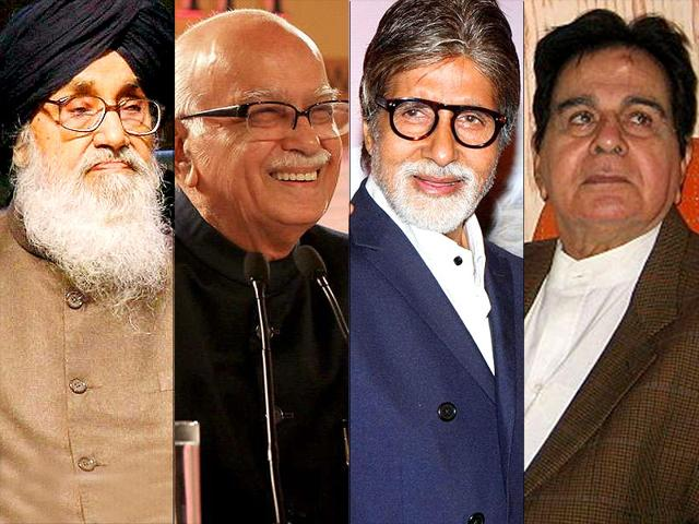Padma-awardees-Prakash-Singh-Badal-LK-Advani-Amitabh-Bachchan-and-Dilip-Kumar-HT-photo