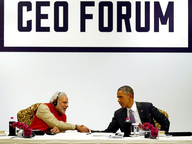 US-President-Barack-Obama-and-Prime-Minister-Narendra-Modi-at-Hyderabad-House-in-New-Delhi-Gurinder-Osan-HT-Photo