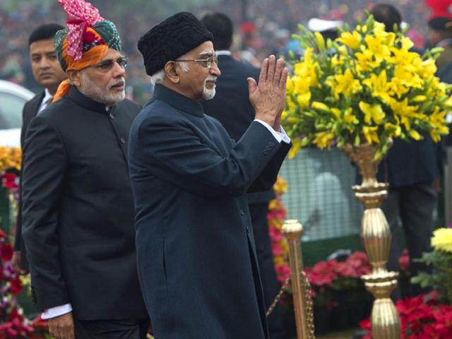 Vice-President-Hamid-Ansari-and-Prime-Minister-Narendra-Modi-arrive-to-attend-the-66th-Republic-Day-Parade-in-Delhi-AFP-Photo