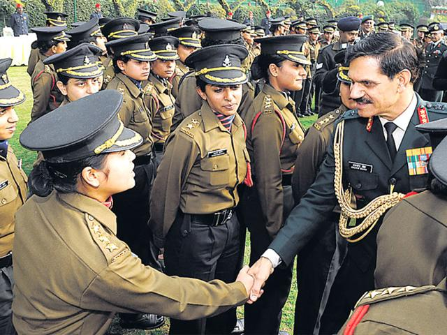 Army chief General Dalbir Singh interacts with female officers at his residence in New Delhi on Tuesday