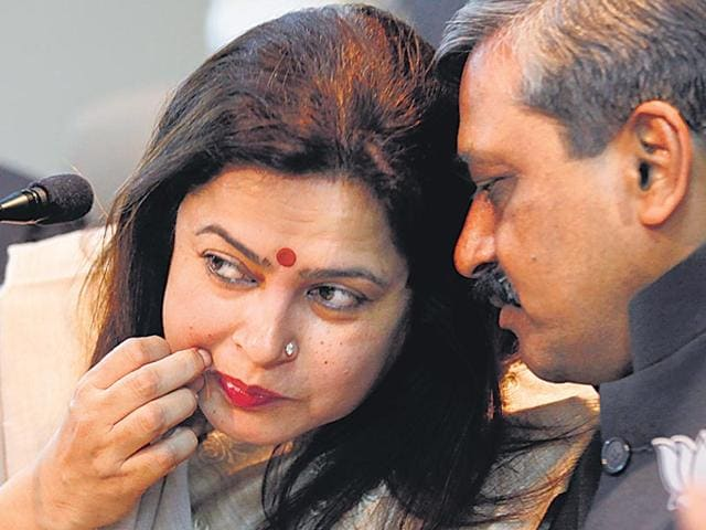 Meenakshi-Lekhi-and-Satish-Upadhyay-during-a-press-conference-at-the-Delhi-BJP-office-on-Wednesday--Arvind-Yadav-HT-Photo
