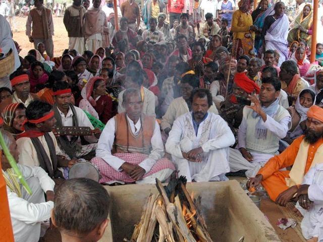 At-least-150-tribals-were-converted-to-Hinduism-at-Khoramdanga-village-in-Bengal-s-Birbhum-district-Surajit-Ghosh-Hazra-HT-Photo