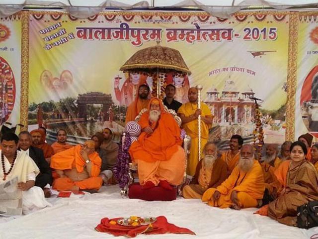 Shankaracharya-Swaroopanand-Saraswati-at-the-Dharm-Sansad-at-Balajipuram-in-Betul-HT-photo