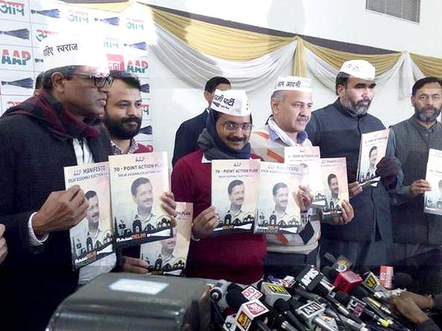 AAP-s-Arvind-Kejriwal-along-with-other-leaders-releases-the-party-s-manifesto-for-the-Delhi-assembly-elections-at-Constitution-Club-in-New-Delhi-Sushil-Kumar-HT-Photo