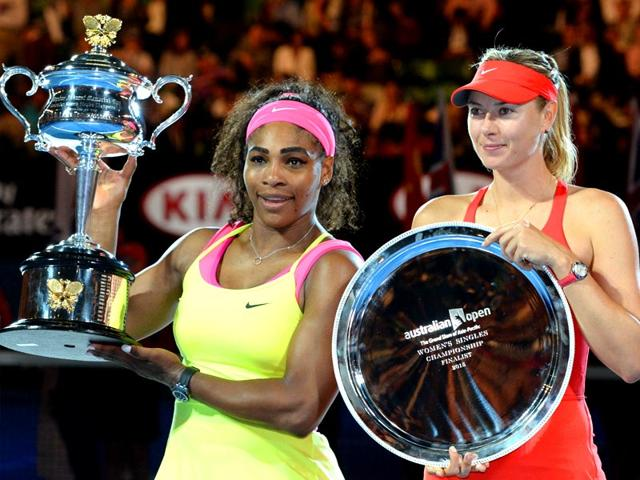 Serena-Williams-and-Maria-Sharapova-hold-their-trophies-after-Serena-won-their-2015-Australian-Open-women-s-singles-final-in-Melbourne-AFP-Photo