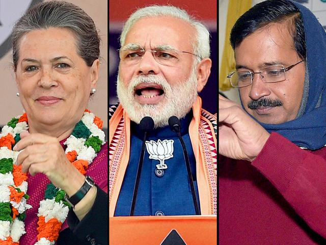 A-combination-photo-of-Congress-president-Sonia-Gandhi-Prime-Minister-Narendra-Modi-and-Aam-Aadmi-Party-chief-Arvind-Kejriwal-Photos-PTI-and-AFP