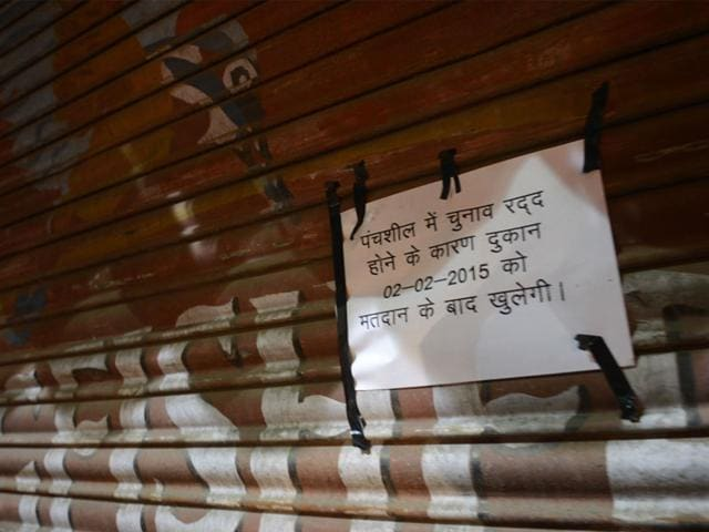 A-liquor-shop-at-Bus-Stop-No-5-that-was-closed-for-elections-in-ward-no-47-in-Bhopal-on-Sunday-Mujeeb-Faruqui-HT-photo