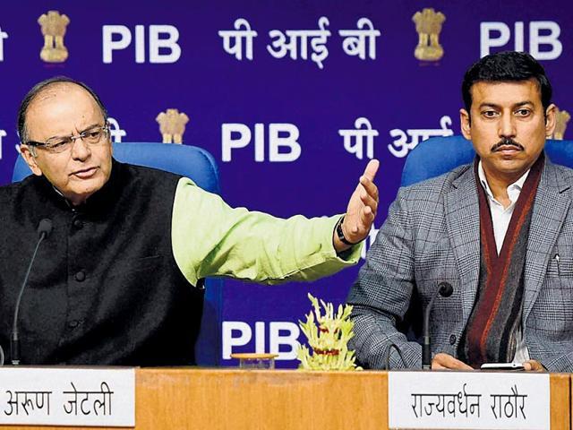 I-amp-B-minister-Arun-Jaitley-with-MoS-I-amp-B-Rajvardhan-Rathore-and-secy-I-amp-B-Bimal-Julka-on-Monday-HT-photo