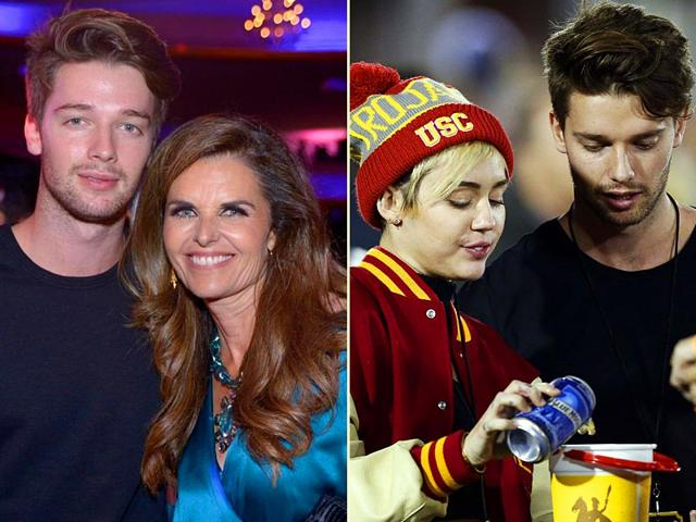 Patrick-Schwarzenegger-with-mother-Maria-Shiver-left-and-his-girlfriend-singer-Miley-Cyrus