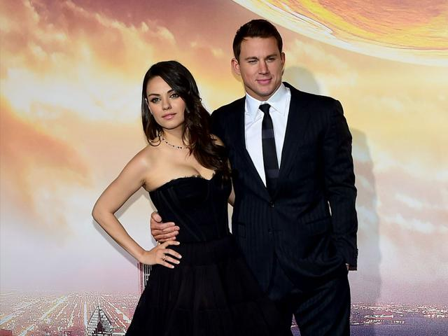 X-Men-Apocalypse-actor-Channing-Tatum-poses-with-co-star-Mila-Kunis-at-the-premeire-of-Jupiter-Ascending-AFP