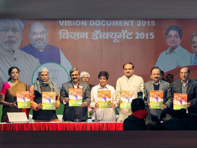 Delhi-BJP-leaders-release-the-party-s-vision-document-for-elections-Arvind-Yadav-HT-Photo