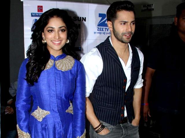 Actors-Varun-Dhawan-and-Yami-Gautam-pose-during-their-promotions-of-Badlapur-IANS