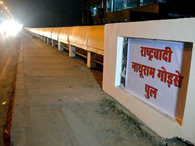 Posters-of-Nathuram-Godse-and-Mangal-Pandey-were-pasted-on-the-foundation-stones-of-a-bridge-and-a-railway-crossing-in-Alwar-on-Monday-night