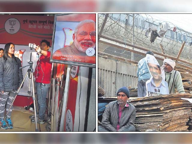 The-contrasting-moods-suggest-that-the-2015-Delhi-elections-are-reflective-of-a-growing-class-divide-Upper-income-groups-seem-to-be-drawn-to-the-BJP-while-the-poorer-sections-of-society-are-attracted-to-AAP-HT-photos