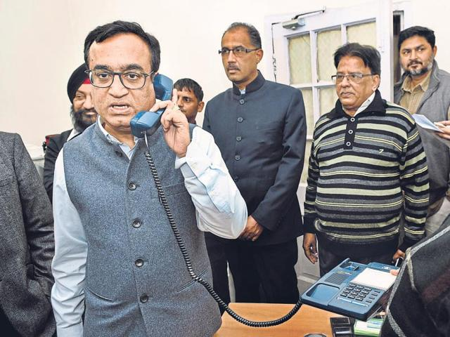 Congress-leader-Ajay-Maken-at-his-office-on-Friday-holding-last-minute-discussions-Sushil-Kumar-HT-photo