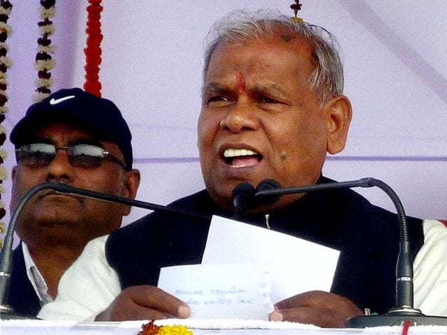 Bihar-chief-minister-Jitan-Ram-Manjhi-addresses-at-a-function-of--Mahadalit-Sammelan-and-foundation-lay-stone-of-Additional-Primary-Health-Centre-in-Khagaria-Bihar-PTI-Photo