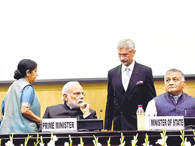 PM-Narendra-Modi-with-external-affairs-minister-Sushma-Swaraj-MoS-VK-Singh-and-foreign-secretary-S-Jaishankar-at-the-conference-of-Heads-of-Missions-in-New-Delhi-on-Saturday-PTI-Photo