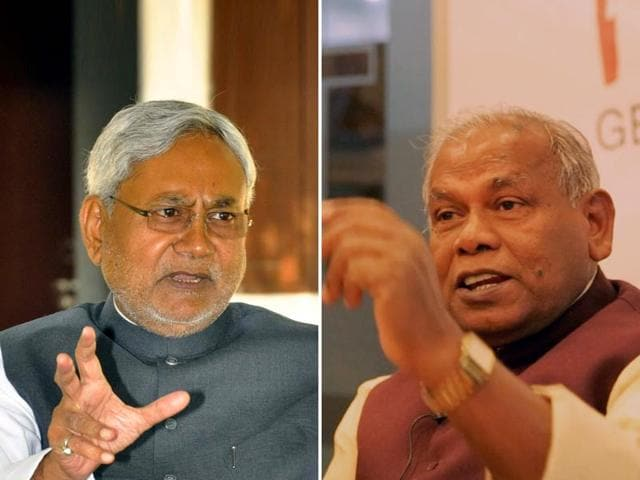 Bihar-chief-minister-Jitan-Ram-Manjhi-and-Nitish-Kumar-during-happier-times-Santosh-Kumar-HT-Photo