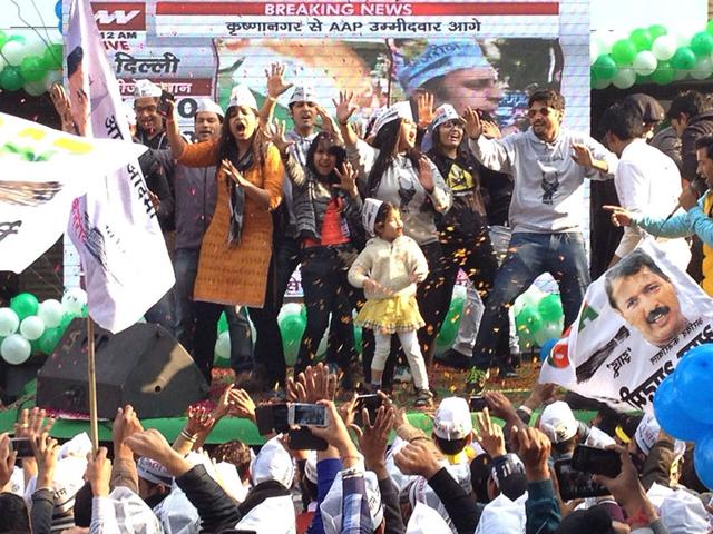Supporters-of-Aam-Aadmi-Party-AAP-celebrate-outside-party-s-Patel-Nagar-office-on-day-of-counting-for-Delhi-Assembly-Election-Arun-Sharma-Hindustan-Times