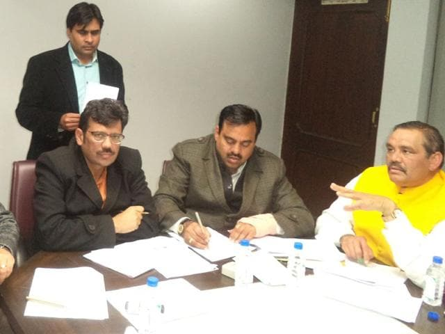 From-left-BJP-general-secretary-Ajay-Jamwal-Punjab-unit-president-Kamal-Sharma-national-secretary-Tarun-Chugh-and-Union-minister-of-state-for-social-justice-and-empowerment-Vijay-Sampla-at-a-meeting-in-Chandigarh-on-Monday-to-finalise-party-candidates-for-the-civic-body-polls-HT-photo