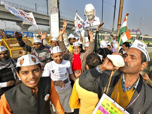 Celebrations-take-place-outside-Aam-Aadmi-Party-office-in-Patel-Nagar-Arun-Sharma-HT-Photo
